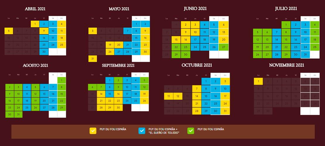 Calendario Apertura 2021 Puy du Fou España